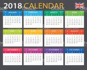 Calendario 2018 En Ingles Calendario 2018 Versi 243 N En Ingl 233 S Illustracion Libre De