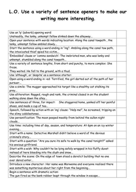 biography sentence starters ks2 sentence opener checklist ks2 ks3 to encourage varied
