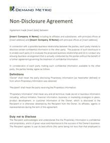 Non Disclosure Confidentiality Agreement Template by Non Disclosure Agreement Template