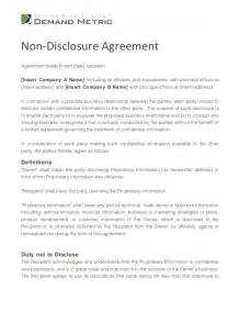 Standard Non Disclosure Agreement Template Non Disclosure Agreement Template