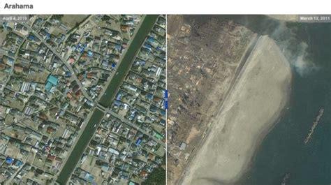 Imagenes Satelitales Japon | tierra arrasada jap 243 n antes y despu 233 s del terremoto