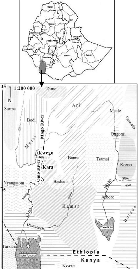 Map of the study area in Debub Omo Zone, Southern Nations