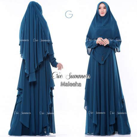Wn0705 Syafillah Syari Choco Blue gamis syari cantik maleeha by eric summers pusat busana gaun pesta muslim modern