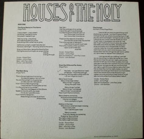 houses of the holy lyrics grassy knoll institute april 2011