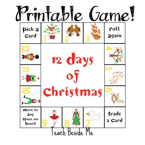 printable lyrics to 12 days of christmas 12 days of christmas printable game teach beside me