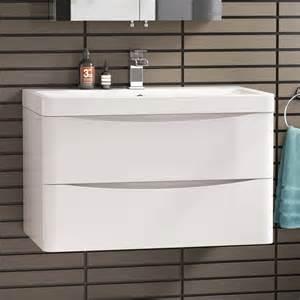 800 Vanity 800 X 510mm Modern White Bathroom Vanity Unit Amp Stone