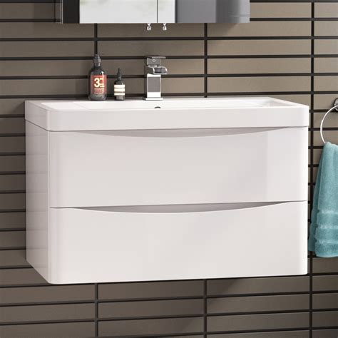 800mm vanity units for bathrooms 800mm white wall hung bathroom vanity unit basin modern