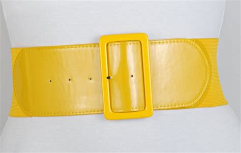 strait city image box buckle stretch belt yellow 13327