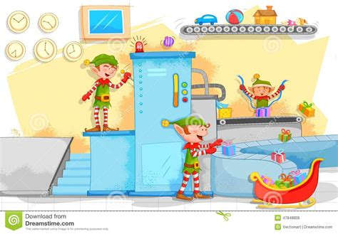 elf making christmas gifts in toy factory stock vector