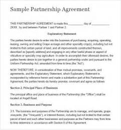 business partnership template partnership agreement 8 free sles exles format