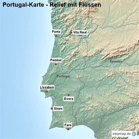 fluss in portugal landkarte portugal karte mit relief und fl 252 ssen
