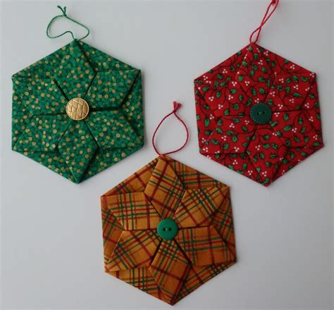 Fabric Origami Ornaments - folded fabric ornaments patterns