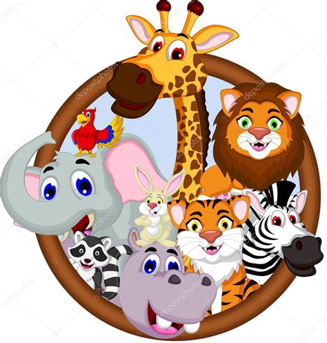 imagenes animales safari safari animales de dibujos animados en el marco foto de