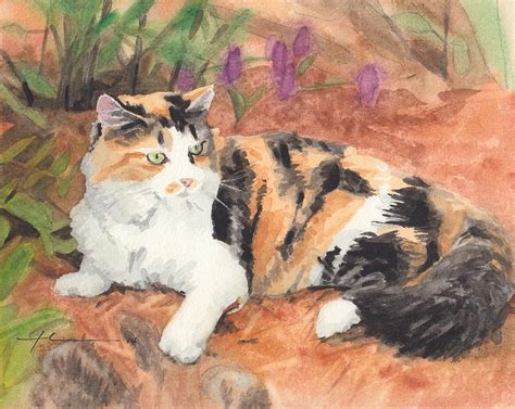 calico cat painting calico cat in garden watercolor painting painting by mike