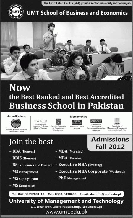 Mba Umt by Umt School Of Business And Economics Admissions 2015