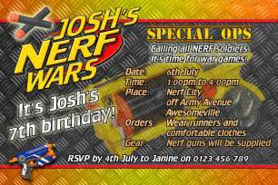 nerf wars nerf army birthday invite invitation on disc you print ebay
