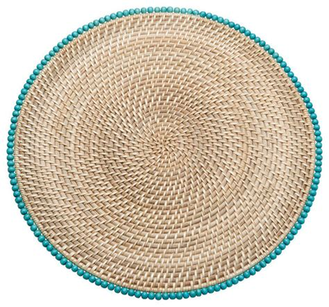 Round Rattan Placemats With Wood Beads Set Of 2 Beach