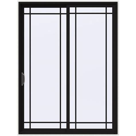 Black Patio Doors by Jeld Wen 72 In X 96 In V 4500 Black Prehung Left