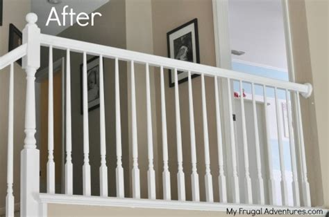 painting a banister white how to paint stairwells my frugal adventures