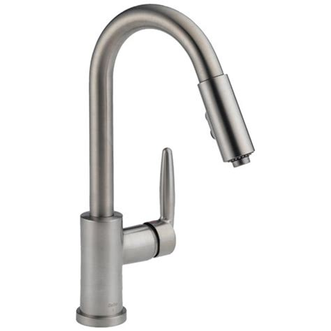 delta kitchen faucets reviews grest on delta 985 sssh grail single handle pull spout kitchen faucet stainless steel