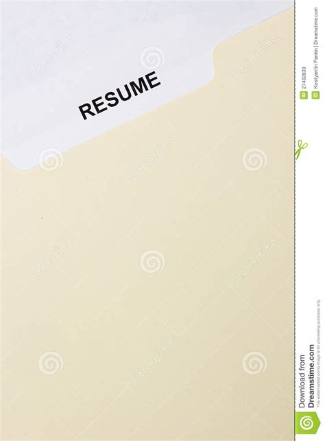 resume title page stock photo image 27402830
