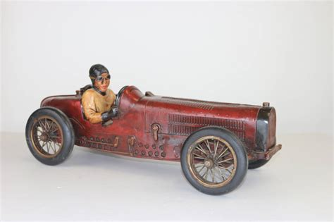Vintage Large Racing Bugatti Model with Driver with