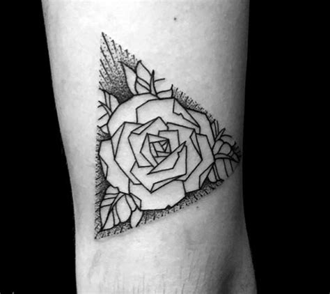 triangle simple geometric rose tattoos golfian com