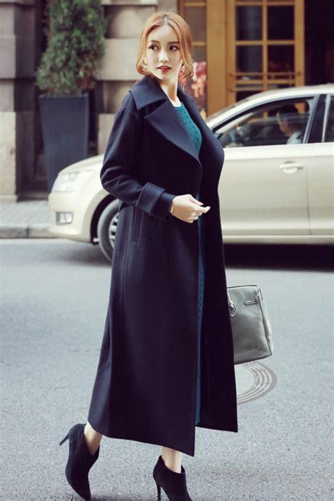 Jaket Panjang Coat Import Hongkong Coat Wanita Korea Navy Trendy Coat