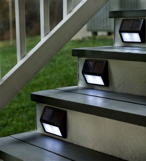 Outdoor Solar Step Lights Set Of Four Solar Step Lights Outdoor Lighting