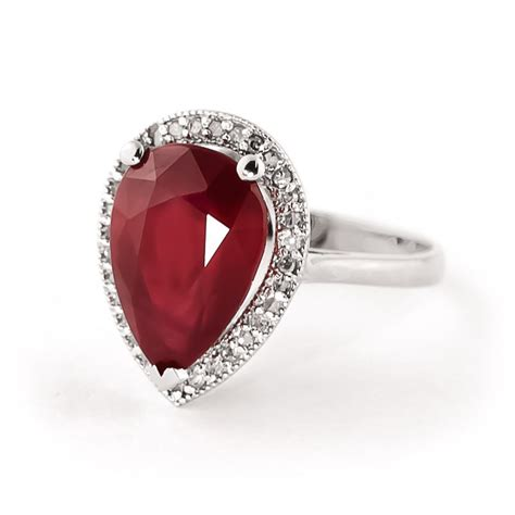Ruby 5 35ct ruby and halo ring 5 35ct in 9ct white gold