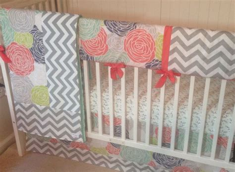 Trendy Baby Bedding Crib Sets Navy Coral And Gray Designer Bumperless Crib Bedding Set By Butterbeansboutique On Etsy Https