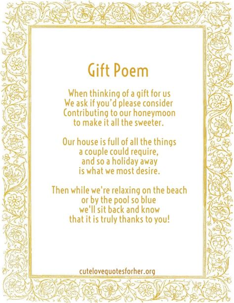 Wedding Gift List Poems by Honeymoon Poems To And To Asking For Money