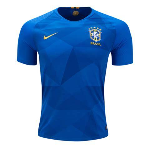 T Shirt Kaos T Shirt Nike Soccer 2018 world cup brazil away blue soccer jersey shirt