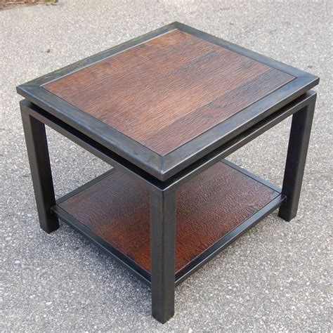 gun end table textured walnut and gun metal end table carlson design