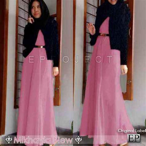 Dress Maxi Wanita Muslim Brokat Furing Xl Pink baju gamis mikhayla blue p570 busana muslim model