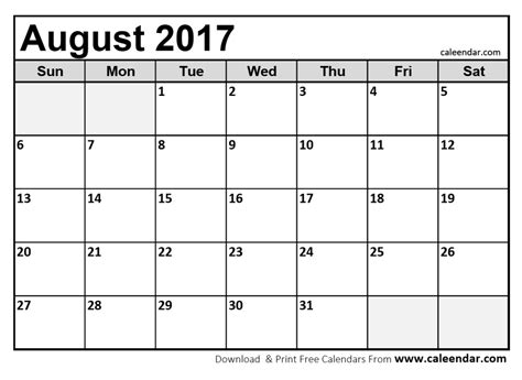 printable calendar for august 2017 august 2017 calendar printable template with holidays pdf