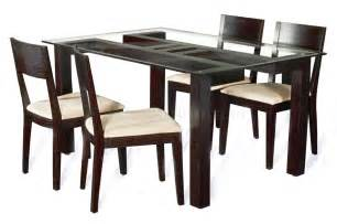 Clear glass top modern 5pc dining set w wood base cyds leslie dt set