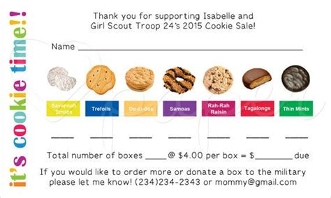 scout cookie sales receipt template scout cookie order receipt thank you card reorder