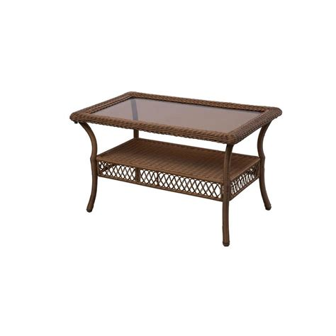 Table Patio Hton Bay Brown All Weather Wicker Patio Coffee Table 66 20305 The Home Depot