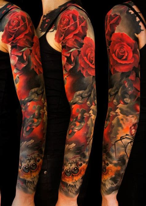 rose tattoo sleeves for men ideas flower sleeve tattoofanblog