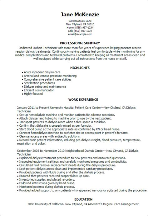 Dialysis Technician Cover Letter by 1 Dialysis Technician Resume Templates Try Them Now Myperfectresume