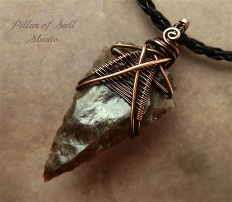 Mens Handmade Necklaces - mens necklace arrowhead necklace wire wrapped jewelry