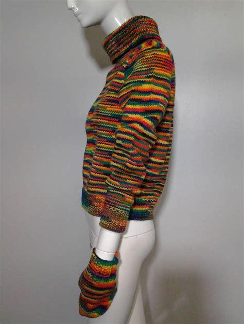 custom knit sweater 1959 custom knit rainbow wool pullover w matching mittens