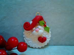 santa holiday ornament polymer clay