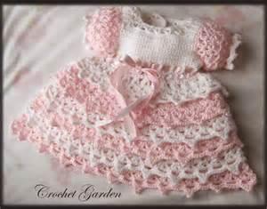 Crochet pink and white baby girl dress make handmade crochet craft
