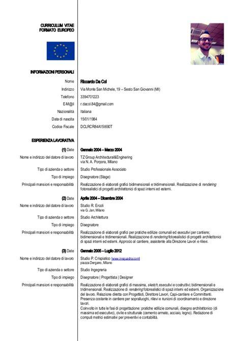 Formato Europeo Curriculum Vitae Esempio Formato Europeo Per Il Curriculum Vitae Esempio Compilato Curriculum Vitae 2018