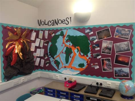 ipc themes ks2 volcanoes display classroom displays pinterest