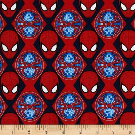 spiderman pattern fabric marvel ultimate spiderman spider man heads red discount
