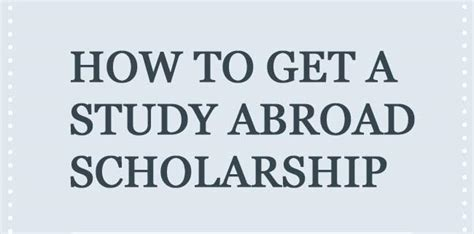 How To Get Scholarship For Studying Mba Abroad by How To Get A Scholarship To Study Abroad Instructographic