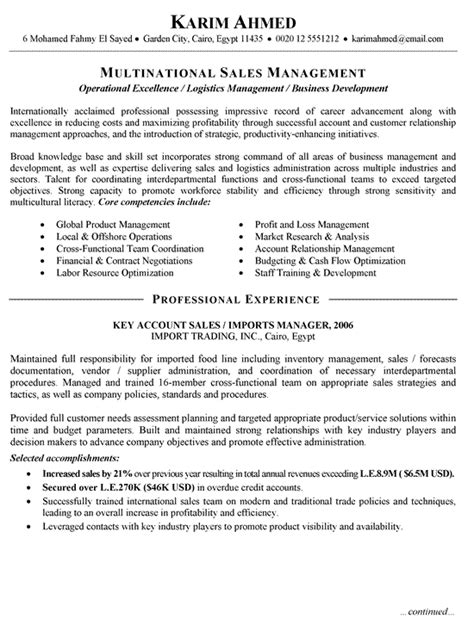 sle of resume for internship international sales resume exle